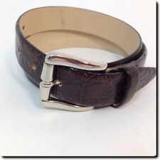 Banana Republic Italian Croc Embossed Leather Brown Belt with Silver Buckle S