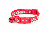 "Ancol  Cat Collar "" I AM MICROCHIPPED "" Safety bell with reflective writing"