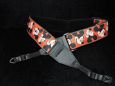 Vintage Disney Parks Mickey Mouse Faces Camera Shoulder Neck Strap Red  Black