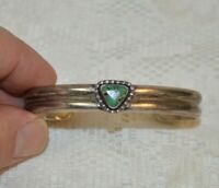 Vintage Handmade Southwestern Sterling Silver and Turquoise Cuff Bracelet