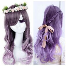 Hot Purple Pink Grey Mixed Long Curly Wavy Full Lolita Hair Cosplay Costume Wig