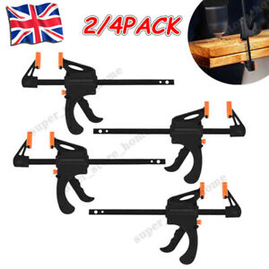 """2/4 X 4'' 6"""" 12"""" 18'' Wood Working F Clamp Grip Ratchet Quick Release Squeeze UK"""