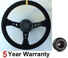 SUEDE CORSICA DRIFTING DEEP DISH SPORT STEERING WHEEL FIT ALL NISSAN 350MMM NEW