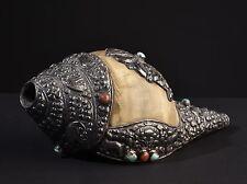 Grande CONCHIGLIA Horn. età, più raramente oggetto rituale. Old (Buddha Tibet Tibetan)
