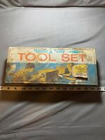 Vintage 50s 60s Handy Andy Tool Set Box Only Man Cave Wooden Racer Logo