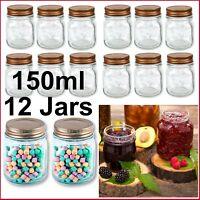 BULK 12x 150ml Glass Jars Screw Lid Preserving Wedding Favours Small Spice Honey