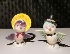Vintage Anthropomorphic Cute Lefton Rhinestone Eye Bird Couple Salt & Pepper 045