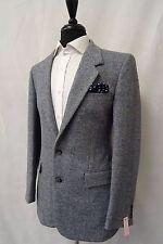 Men's Canda Blue Herringbone Tweed Jacket Blazer 38R CC5420
