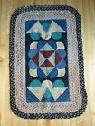 "Antique hooked Braided Rug colorful GeometrIc New England folk art 42""x 27"""