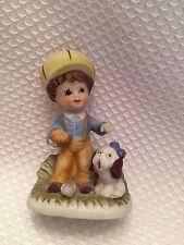 "Vintage Homco Home Interiors 1430 Porcelain Boy With Dog 4"""