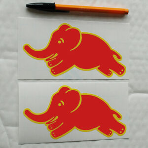 Lancia HF Elephant 1 pair Sticker Decal Fulvia Stratos Delta 150mm W red yellow