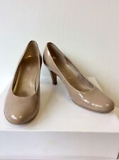 GABOR TAUPE PATENT HEELED COURT SHOES SIZE 5/38