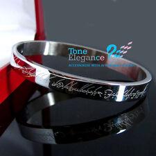 Stainless steel Gold GF Soild lord of rings engraved men women bangle bracelet