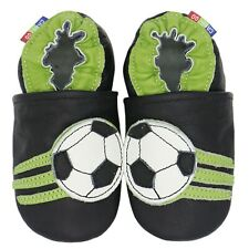 carozoo soccer black 12-18m soft sole leather baby boys shoes