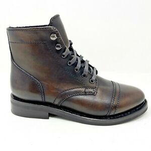 Thursday Boot Co Womens Black Coffee GYW Captain Handcrafted Leather Combat