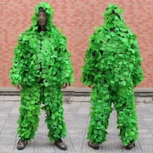 Tactical 3D Ghillie Suit Clothing Hunting Training Birding Pants Hooded Jacket