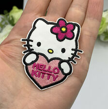 Hello Kitty Patch Iron or Sew On Embroidered Applique Girls Party Favor Heart