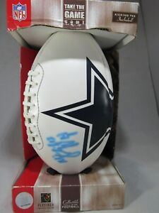 NFL full size foot ball with Kicking Tee Cowboys collectible by players ink 2004