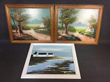 Lot 3 anciens petits tableaux peint à la main cadre bois vintage