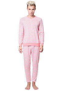 Godsen Men Cotton Homewear Stripe Casual Long Sleeve Soft Comfortable Pajama Set