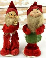 1950 Christmas Tomte Nisse Gnome Figures Chenille Paper Mache Hand Painted Japan