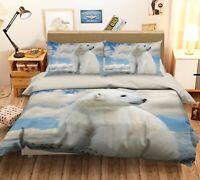 3D Polar Bear Cloud A324 Animal Bed Pillowcases Quilt Duvet Cover Set Queen King