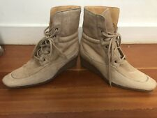 HOGAN by TODS Lace-up Ankle Boots 7.5 37.5 Tan Pony Hair Fur Leather Shoes ITALY