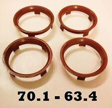 4 x 70,1 - 63,4 anneaux alliage CENTRAGE DE ROUE FORD VOLVO JAGUAR Moyeu joints