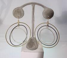 Silver 3 Inch Hoop #210-A/27 Multi-Color Multi-Hoop Earring Gold, Black,
