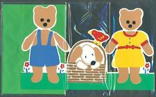 1980's Pull Out DRESSED GIRL BOY DOG TEDDY BEAR Lover's Evergreen Greeting Card