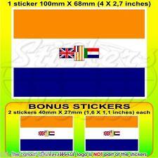 "SOUTH AFRICA South African Former Flag 100mm(4"") Vinyl Sticker, Decal x1+2 BONUS"