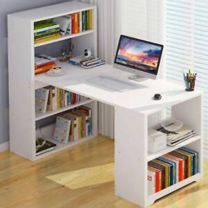 White Computer Desk With Shelves Laptop Study Pc Table Home Office Corner Desk