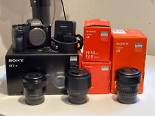 Sony a7R IV 61MP Full Frame Mirrorless camera with 20mm, 50mm, and 80mm primes