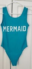 """Mermaid"" Print Women's Size Small Turquoise Summer One Piece Swimwear Swimsuit"