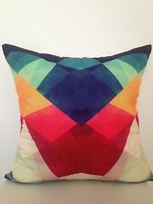 Watercolour Navy Red Green Abstract Soft Square Pillow Cushion Cover 45 cm