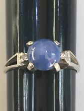 14k White Gold Ring Blue Moonstone Onyx and Diamonds. Size 7.75
