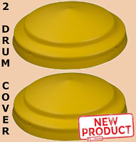 2 PACK Barrel Cover 55 Gal High Density Polyethylene Lid Closed Drum Yellow NEW