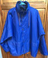 Helly Hansen Men M Windbreaker Jacket Concealed Hood Hooded Royal Blue