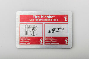 Fire Blanket ID Sign 150mm X 100mm  Brushed Silver (BFI-18Y)