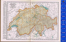 SWITZERLAND - Vintage 1930s Color Map with Principal Cities