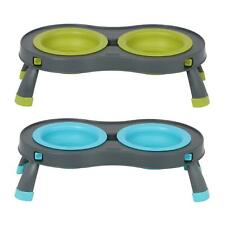 Collapsible Double Twin Raised Feeding Wet Dry Food Water Dog Cat Bowl Stand
