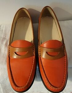 Cole Haan Women's Red/Tan Leather  Penny Loafers 7 1/2 B