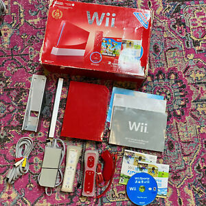 GRT Nintendo Red Wii Sports Console Bundle GameCube Compatible 2 Controllers