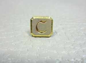 """Vintage Initial """"C"""" Yellow and White Gold Plated Tie Tac or Lapel Pin"""