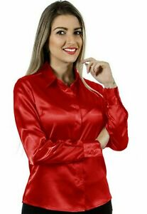 Women Satin Work Casual Office Shirt Button Down Solid Collar Blouse Top - Red