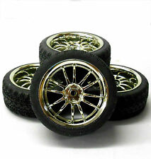 A250085 1/10 On Road Soft Road Tread Car Wheels and Tyres 10 Spoke Chrome 4