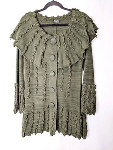 Covelo Women's Green Sweater Jacket Coat Embroidered Hippie Festival Wool Blend