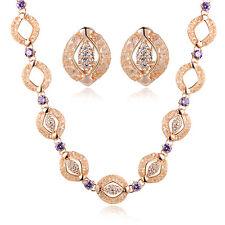Beautiful 22k Dubai Gold with purple amethyst stone necklace, earring, set