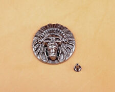 3.2X3.2CM 10pcs Retro Silver Indian Head Stud Leathercraft Conchos Wallet Belt