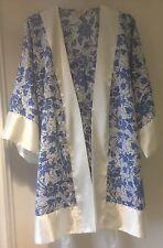 Victoria's Secret Vintage Azul y Blanca Floral Kimono Bata Chemise conjunto pequeño o/s
